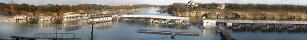 Panoramic view of Briarcliff Marina from Lake Travis