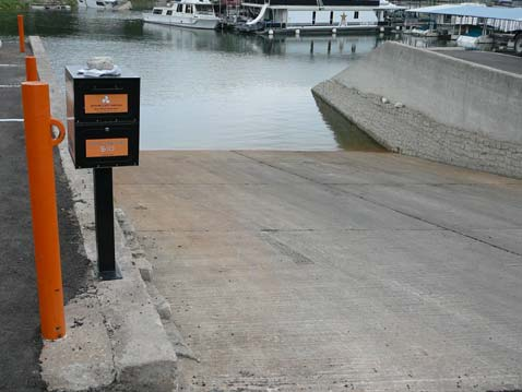 Briarcliff Marina's boat ramp and courtesy docks are in a large, secluded cove