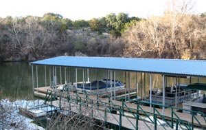 All covered wet slips at Briarcliff Marina are situated in a protected cove on Lake Travis